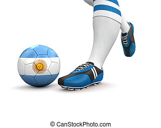 Man,soccer ball with Argentina flag - Man and soccer ball...