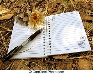 manta, cuaderno, girly, follaje