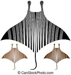 An image of a manta ray drawing.