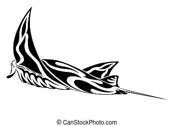 manta, tribal, rayon, tatouage