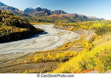 Mantanuska River Chucagh Mountain Range Alaska North America