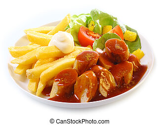 Mantaplatte topped with gravy or BBQ sauce served with golden French fries and fresh mixed leafy green salad on white