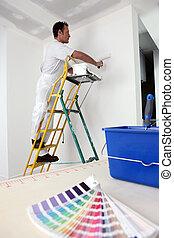 manteau, base, peinture, décorateur