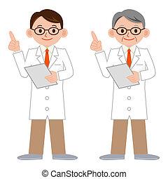 manteau, blanc, intelligent, docteur
