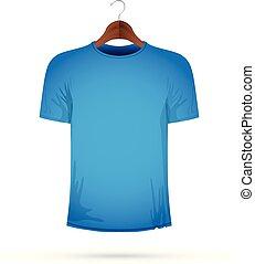 manteau bleu, cintre, t-shirt