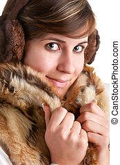 manteau, chaud, femme, froid, blottir