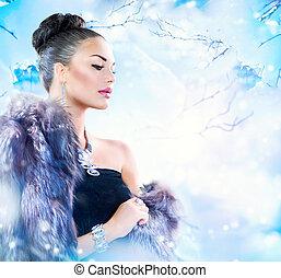 manteau, femme, fourrure, hiver, luxe
