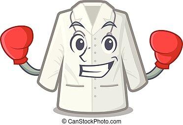 manteau, forme, boxe, dessin animé, docteur
