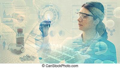 manteau, gants, femme, lunettes protectrices, laboratoire, analyse, laboratoire, chimique