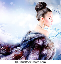 manteau, girl, fourrure, hiver, luxe