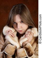 manteau, girl, fourrure, studio, portrait
