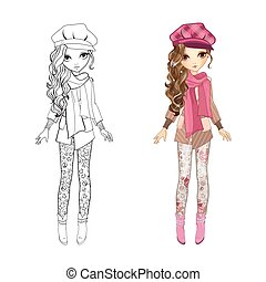 manteau, girl, livre coloration