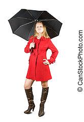 manteau, girl, parapluie