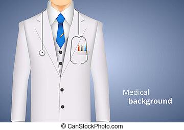 manteau laboratoire, blanc, monde médical, fond