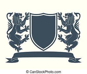 manteau, lion, 2, bras