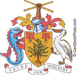 manteau, national, bras, barbade