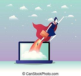 manteau, ordinateur portable, voler, héros, femme affaires
