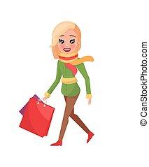 manteau, paquets, vert, hiver, mains, femme