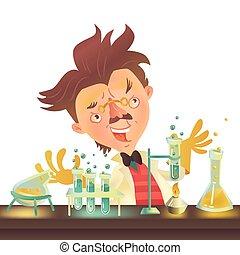 manteau, prof, flacons, laboratoire, expérimenter, fou, chevelure, broussailleux