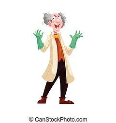 manteau, prof, laboratoire, caoutchouc, vert, fou, gants