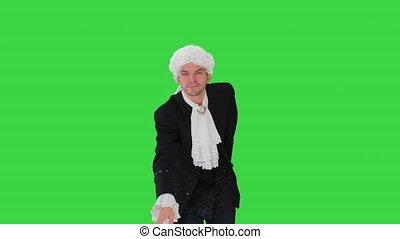 manteau, robe, confection, vert, écran, regarder, chroma, homme appareil-photo, arc, blanc, key., lacé, démodé, perruque