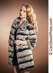manteau, style, fourrure