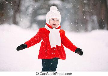 manteau, teddy, avoir, neige, hiver, rouges, jouer, ours, girl, day., amusement, peu