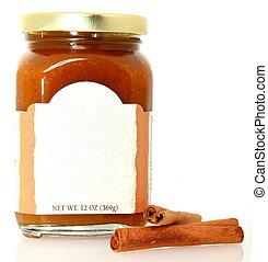 manteiga, abóbora, espalhar, em branco, etiqueta