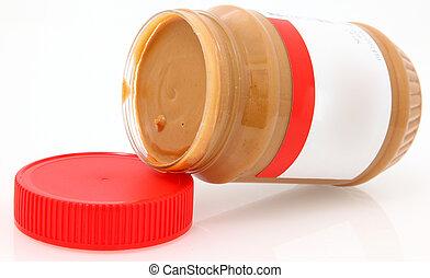 manteiga, amendoim, em branco, cremoso, etiqueta