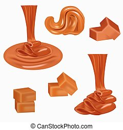 manteiga, despejar, sauce., cream., chocolate, amendoim, fluxo, derretido, spread., doce, bala doce, caramel.