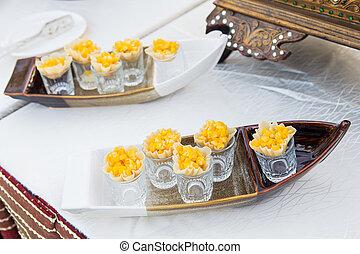 manteiga, dourado, milho, caseiro, fim, vista