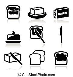manteiga, margarina, vetorial, ou, ícones