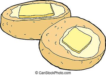 manteiga, pão milho
