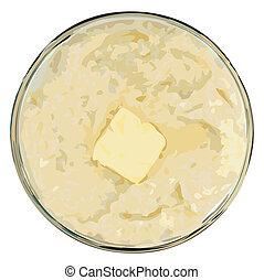 manteiga, vetorial, grits, ilustração
