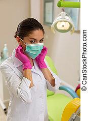 mantel, aseptic, handschuhe, zahnarzt, labor
