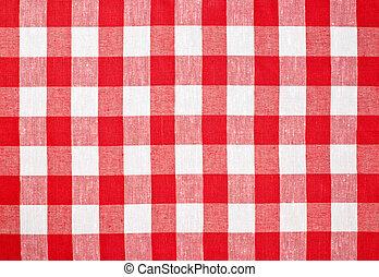 mantel, comprobado, tela, rojo