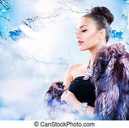 mantel, frau, pelz, winter, luxus