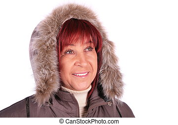 mantel, frau, winter