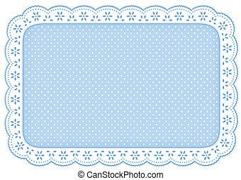 mantel individual, azul, punto, encaje, mantelito