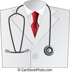 mantel, medizin, weißes, doktor