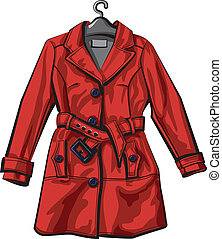 mantel, rotes , regen