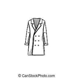 mantel, skizze, hand, icon., gezeichnet