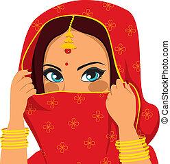 mantello, donna, indiano, faccia