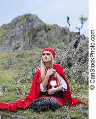 mantello, pietre, biondo, vestire, antiquato, seduta, donna, rosso, bello
