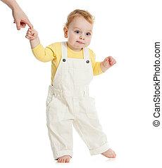 mantendo, pai, passos, dedo, bebê, primeiro