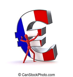 mantener, -, arriba, bandera francesa, euro
