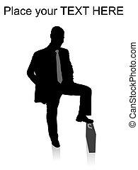 mantener, el suyo, maletín, hombre, pierna