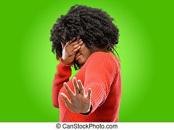 mantener, estresante, cansado, tímido, mano, cabeza, frustrado
