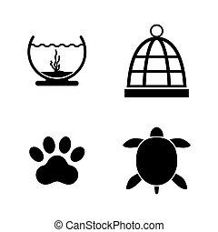 mantener, iconos, simple, relacionado, vector, pets.