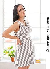 mantener, mujer, trials., tenencia, embarazada, deprimido, espalda, cerrado, manos, embarazo, ojos